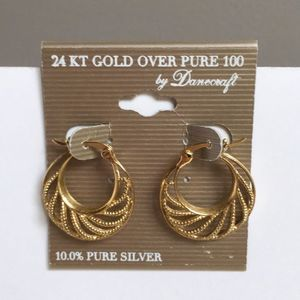 Danecraft 24KT Gold Over Silver Earrings New